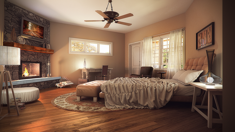 """Rustic Cabin"" Interior Bedroom"