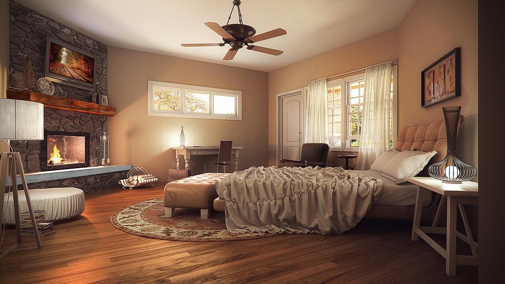 Rustic Cabin Bedroom Interior — Bobby Parker