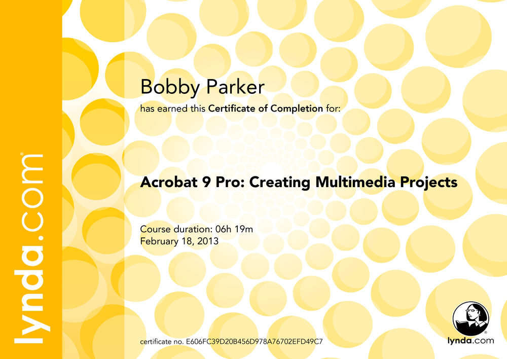 A crobat9Pro Creating Multimedia Projects Certificate Of Completion
