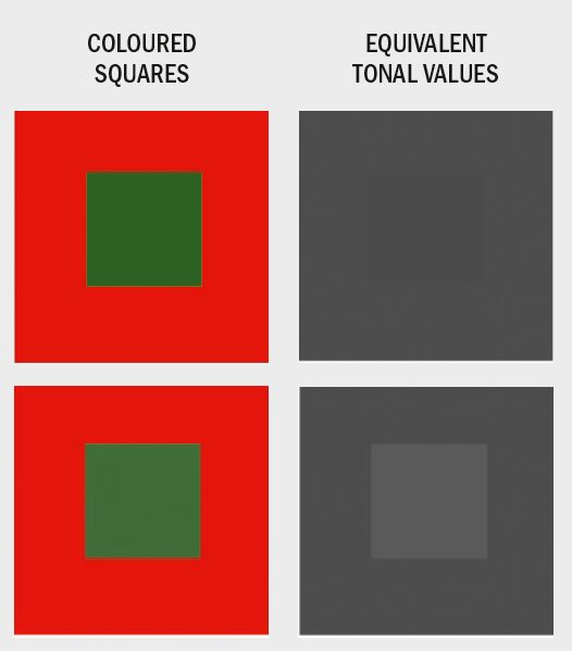 Above: Colors you may perceive as being very different may actually be extremely close on the tonal scale. A slight variation in 'color' (tone) can make a big difference to your painting