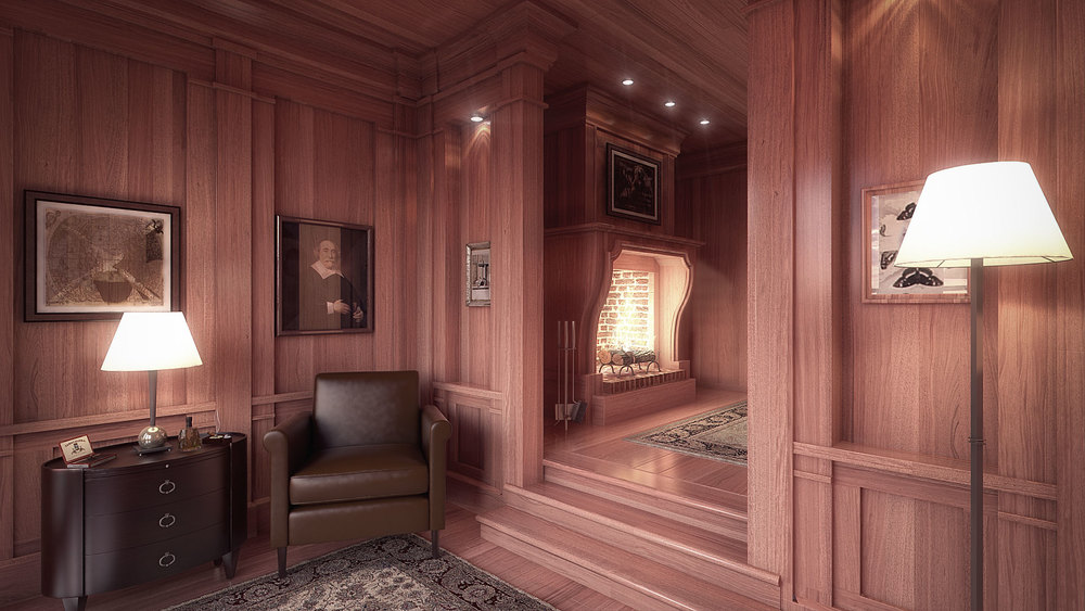 The Wood Paneled Cigar Room Interior Architectural Rendering