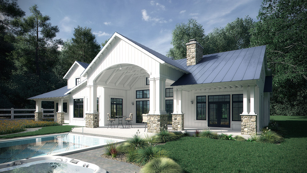 Poolside Mountain Retreat Rendering