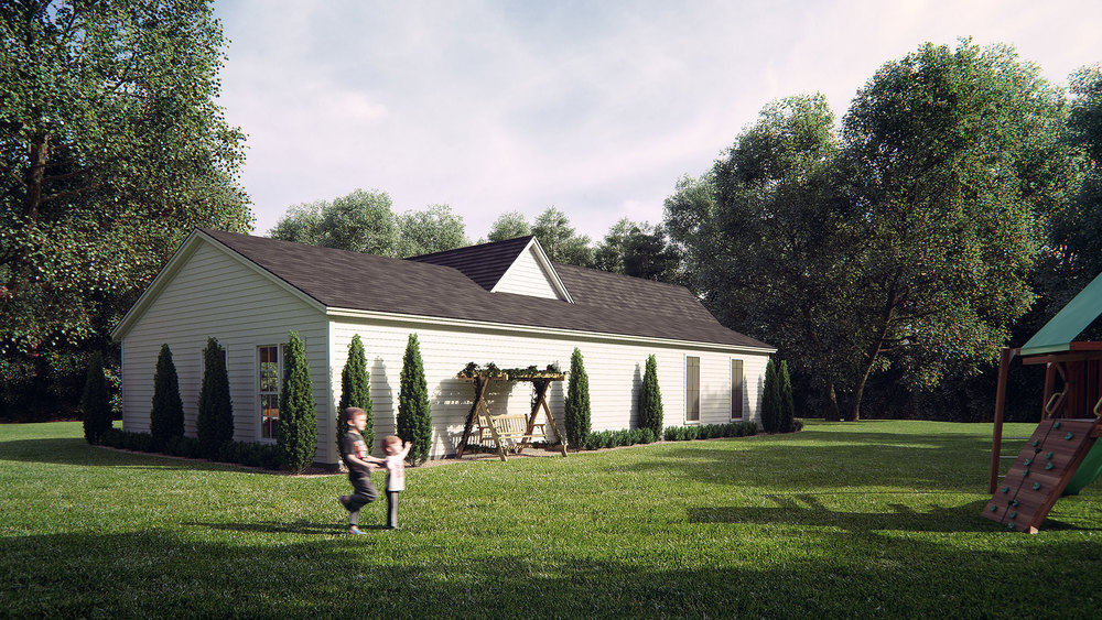 Exterior House Rendering - Back
