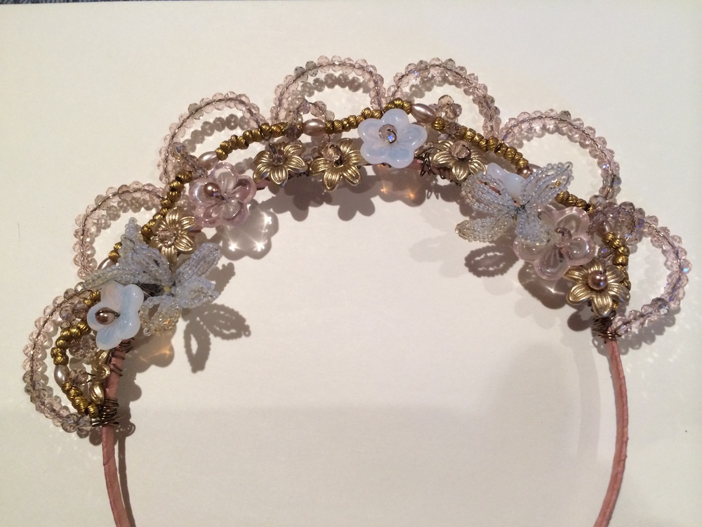 Crown headband made with vintage French beads - Kaari Meng from French General, my third class with her. I learned to make beaded leaves.