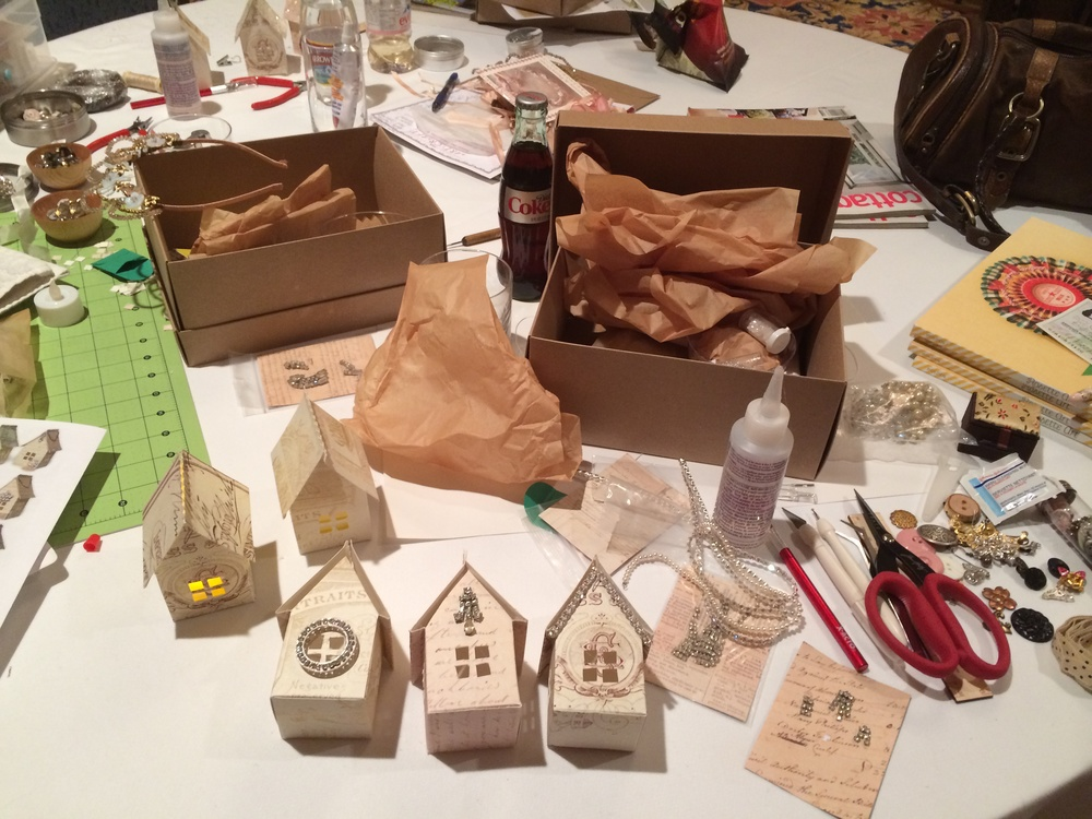 Super cute paper birdhouse luminaries with Cathe Holden, I just need to finish embellishing