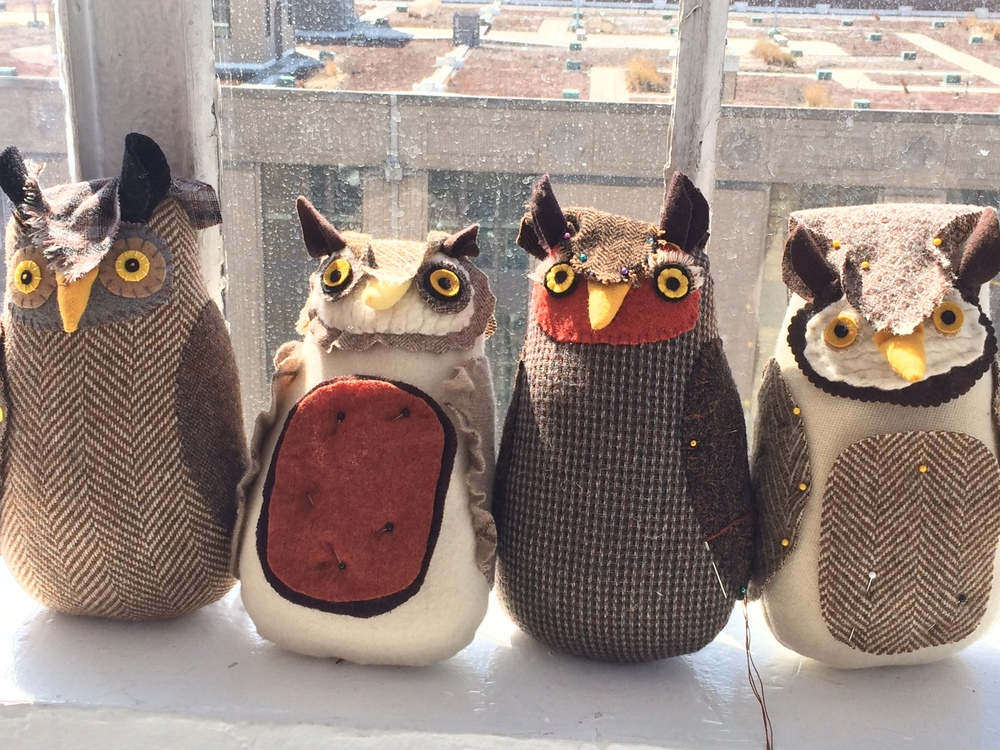 Cuddly Owl class with Mimi Kirchner. She was lovely and we learned many new tips and tricks. We didn't finish however you can see how cute they are turning out, our coven of owls.