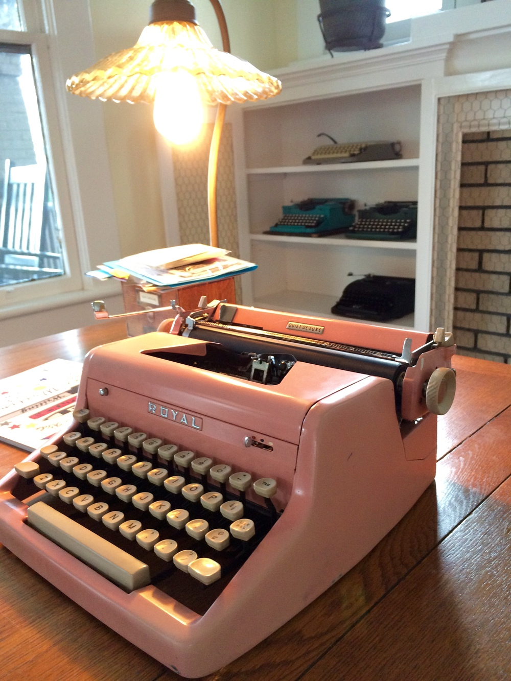 Writing bar and home of Tampa Type being set up.