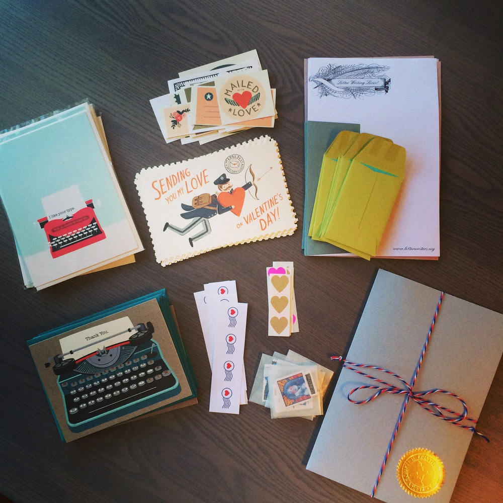 Prepping the kits for letter writing event...
