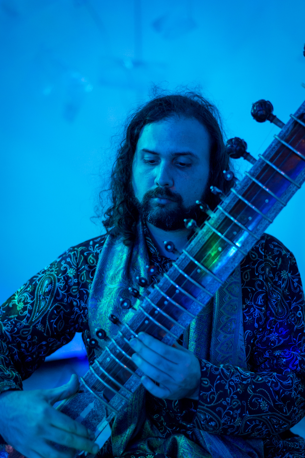 Sitar player at Art Night Austin 2014. Shot for Austin Fusion Magazine.