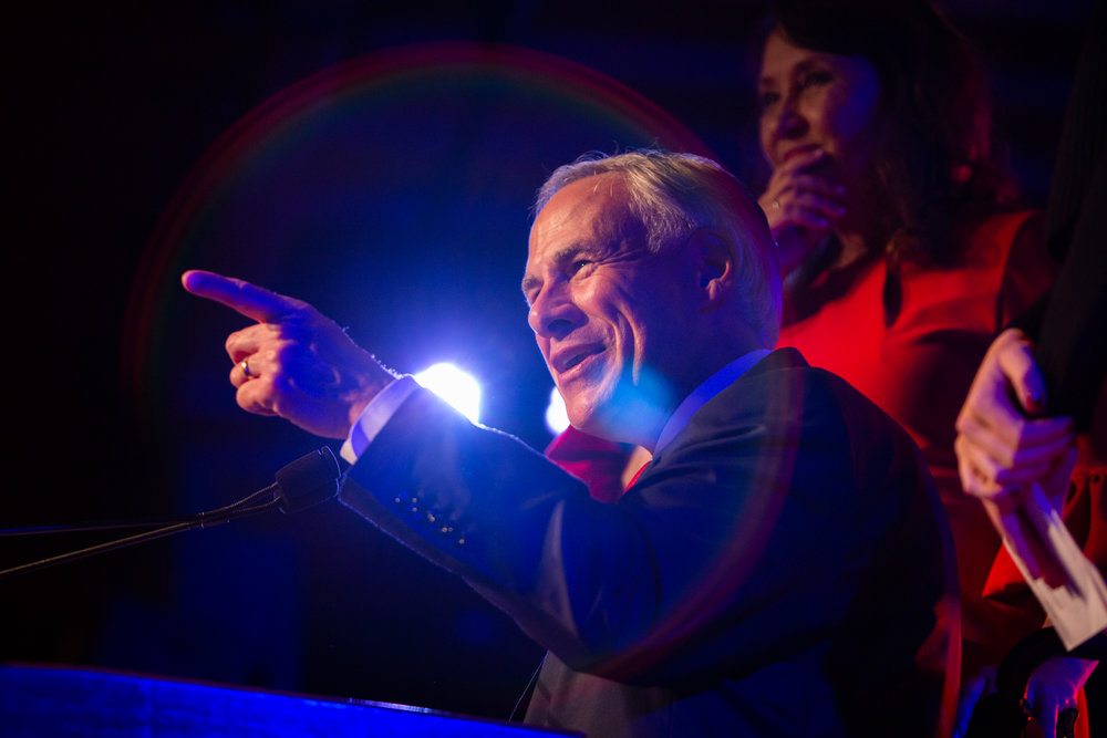 Texas Gov. Greg Abbott delivers a victory speech to supports after the 2018 midterm elections on Nov. 6, 2018.