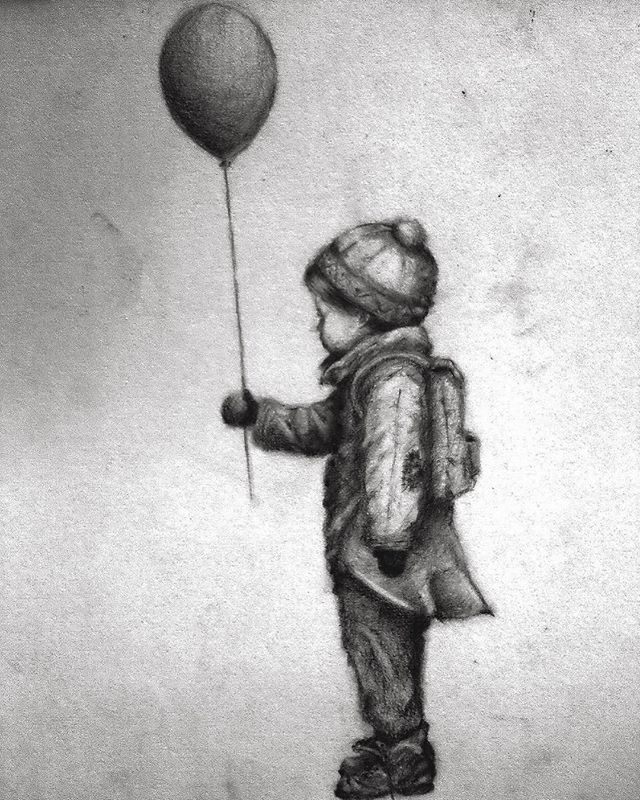 Boy with balloon (Innocence), pencil drawing from 2013. Should I do more pencil drawings?