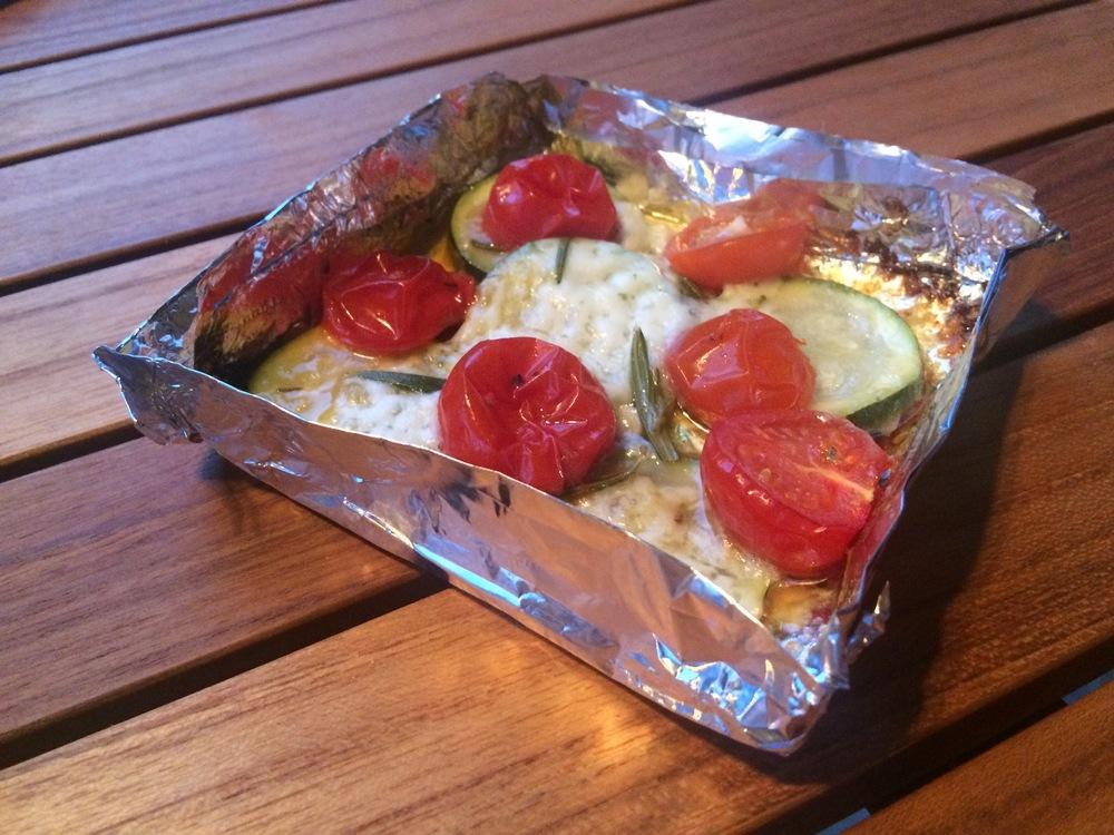 Mozzarella-Päckchen in der Aluform