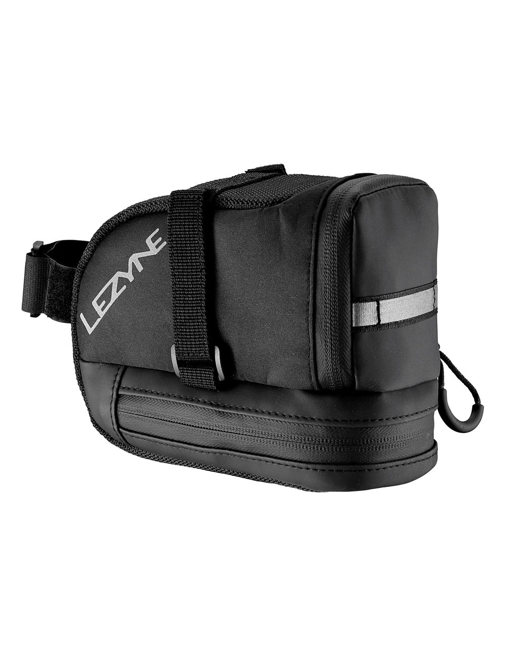 Large capacity, wedge-shaped saddle bag. Sub compartment for multi-tool or mobile device. Reflective loop increases night visibility. Water resistant zipper with large pull loop.