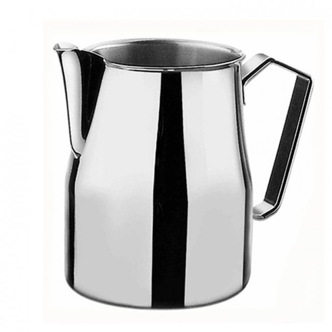 MILK PITCHER STEEL - With this milk jug you get perfect milk froth for latte art. Frothing jug made of thick-walled stainless steel. 350ml, 500ml & 750ml.
