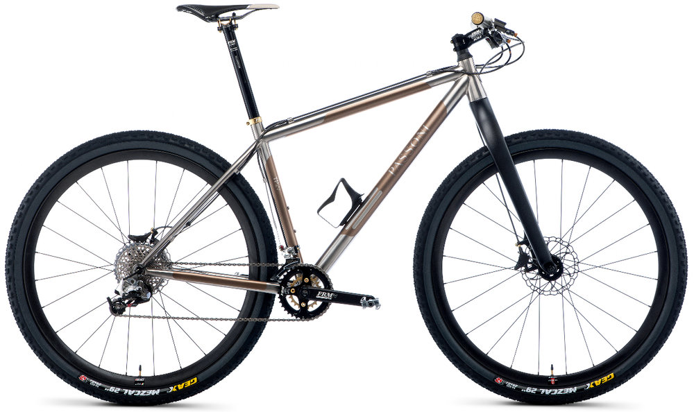 "TP29 - Fighting with a glorious spirit, looking for freedom. Technology, frame studies and Italian tradition of Passoni's titanium in off-road version. Available for 26"", 27,5"" and 29"" wheelset."