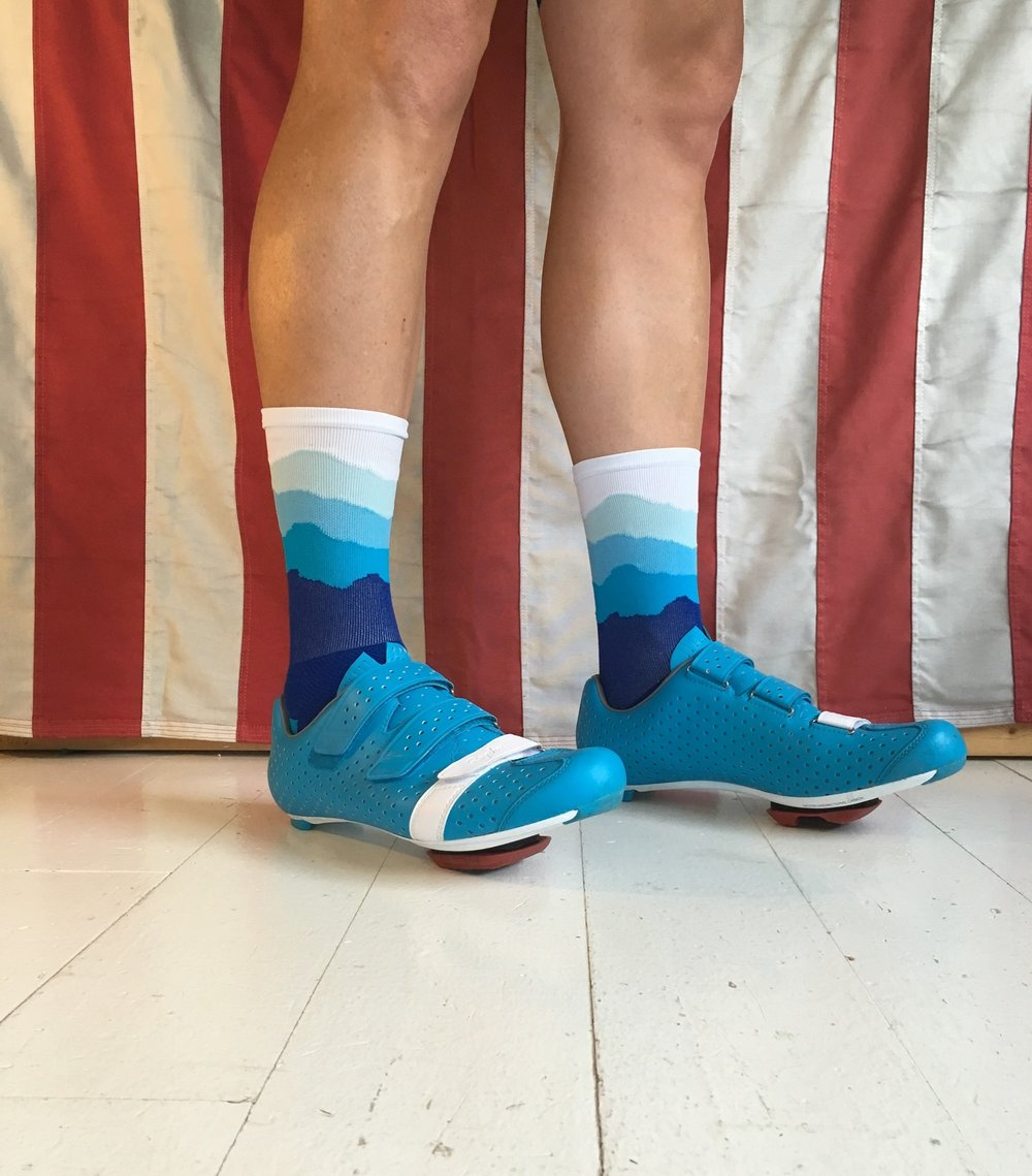 THE SKYLINE - ORIGINAL is the sock that started it all.  Five Colors: Royal, Process, Carolina, Star, and White.