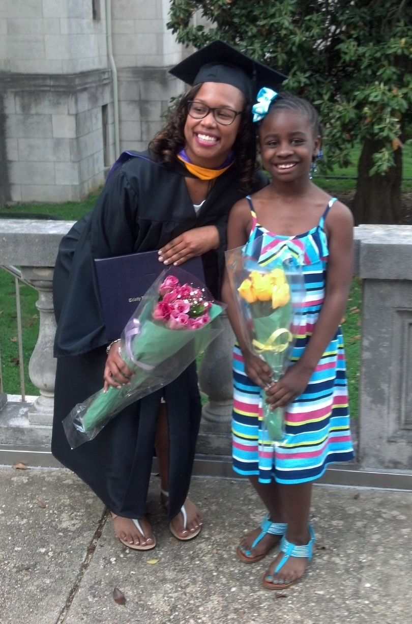 """ERICKA HARLEY   Though once unsure about going to college, Ericka changed her mind after giving birth to her daughter at age 17. """"Once I had her, I decided to go so that I could prove to her that if I could graduate, she could too."""" Now, Ericka can say just that. In May 2014, she graduated cume laude as a business administration major from Trinity Washington University. Ericka worked full time while in school, served as president of the Student Government Association, and raised her daughter A'Niyah. Though she almost considered quitting school amidst the difficult times, Ericka says Generation Hope is what kept her focused. She plans to work for a nonprofit now, and she is looking into graduate school. """"I want to do something meaningful with my degree,"""" she says. """"I want to give back."""""""