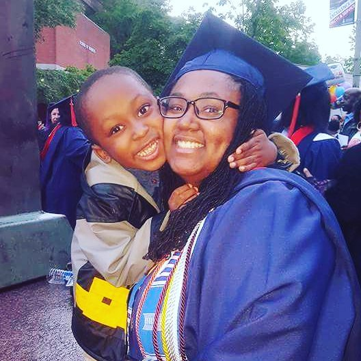 Scholar Alyssa with her son at Howard University's graduation ceremony last week! #19degreesandcounting #ghworks