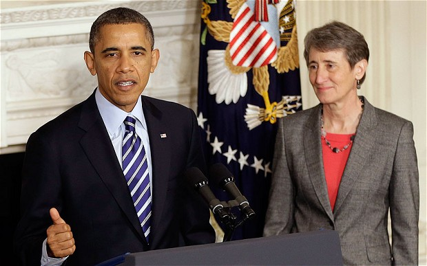Sally Jewell and President Obama. (Photo source: AP)