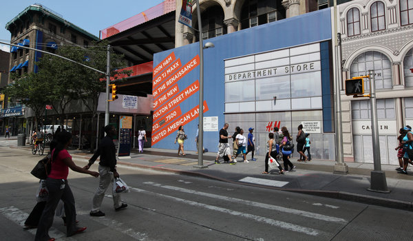 An  H&M clothing store being built on the Fulton Street Mall in  Downtown Brooklyn is among many national retail outlets planned for the  area. Credit: Marilynn K. Yee/The New York Times