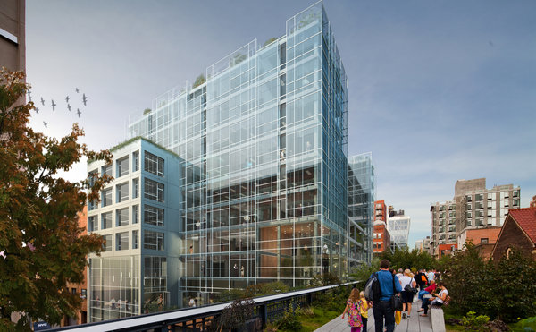 A rendering of 510 West 22nd Street in Manhattan, alongside the High Line elevated park. Credit:  Cook + Fox Architects