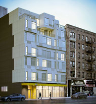 As seen in this rendering, the building in Inwood will have a stacked style. Credit: Gluck+
