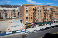 The lot in Inwood, between Academy and 204th Streets, where the modular building will stand. Credit:   Ryan Collerd for The New York Times
