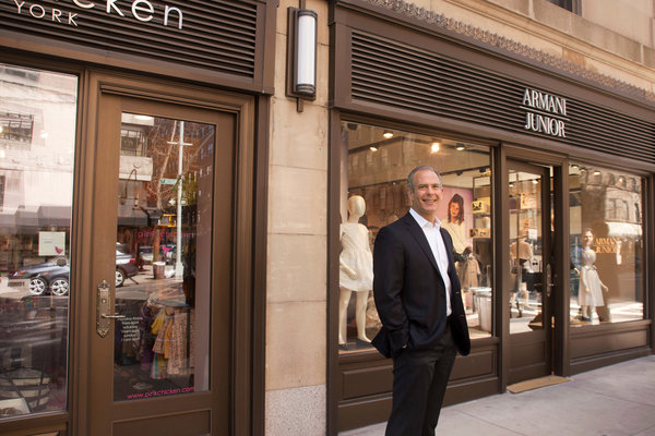 Alan  B. Mitchell, a resident and former board president of 47 East 88th  Street, says replacing the previous storefronts with higher-paying  retail tenants like Armani Junior has helped to keep down maintenance  costs for residents. Credit: Rebecca McAlpin for The New York Times