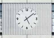 The developer designed a modernist clock for passers-by. Credit:   Studio AMD