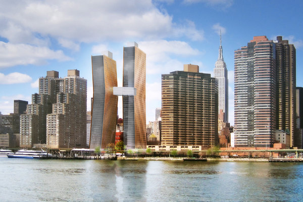 A  pair of rental towers, clad in copper and glass, will rise along the  East River on a site that has sat empty for more than a decade. The  buildings will be connected by a sky bridge. Credit: SHoP Architects