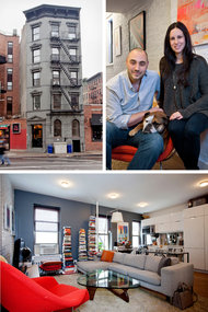 Brett and Betsy Leonhardt and their dog, Lola, live in a 10-unit boutique walk-up in the West Village. The windows in their living room are oversize, part of an extensive renovation of the 1900 building that also provided walnut floors and Kohler bathroom fixtures.   Katherine Marks for The New York Times