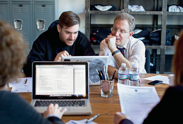Adam Quinn, left, and Glenn Markman, founders of a new media company, BKLYN1834, that is closely aligned with the Clubhouse.   Credit  Brian Harkin for The New York Times