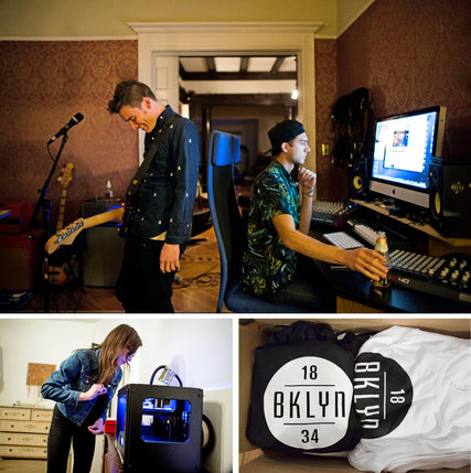 Clockwise from top: Andrew Thomas Reid playing music while Erik Groszyk works on a website; sweatshirts and tank tops with the BKLYN 1834 logo in Aaron Vazquez's bedroom; and Elizabeth Reid with a 3-D printer in her room.    Credit  Elizabeth D. Herman for The New York Times