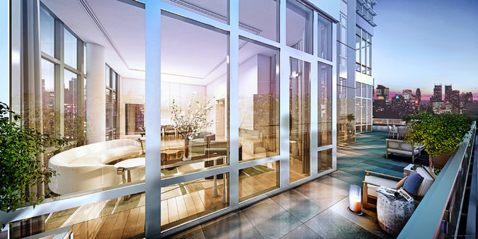 A penthouse in the Charles, a glass-and-limestone condo rising from a nondescript block on First Avenue, recently went into contract for $37.94 million. The buyer is creating a quadruplex with 1,300 square feet of private terrace space on two levels.      Credit  Williams New York
