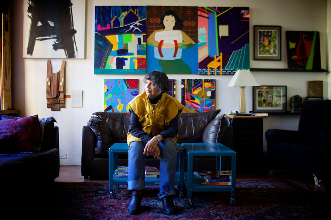Christina Maile, an artist who lives at Westbeth, lost her studio space after it was flooded during Hurricane Sandy.      Credit  Ashley Gilbertson for The New York Times