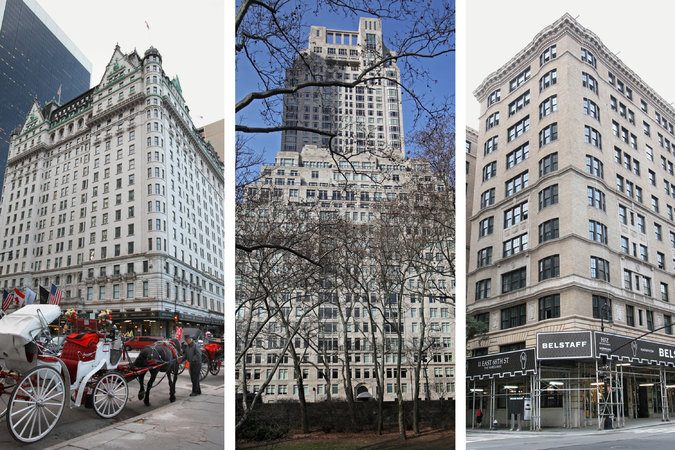 Wealthy Russians have been sinking fortunes into some of the priciest condominiums in Manhattan, including the Plaza Hotel, far left, 15 Central Park West, center, and the Marquand, at 11 East 68th Street.      Credit Marilynn K. Yee/The New York Times