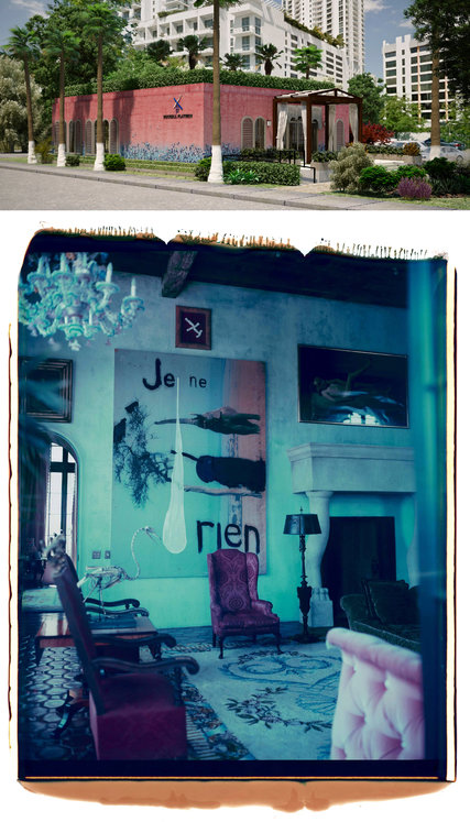 In Miami, the sales center for the Brickell Flatiron condo, rendering above, is being designed by the painter and director Julian Schnabel. The artist's 2008 polaroid, bottom, of his condo project in the West Village, Palazzo Chupi, serves as inspiration    Credit  Top: Imagery NYC; Bottom: Julian Schnabel