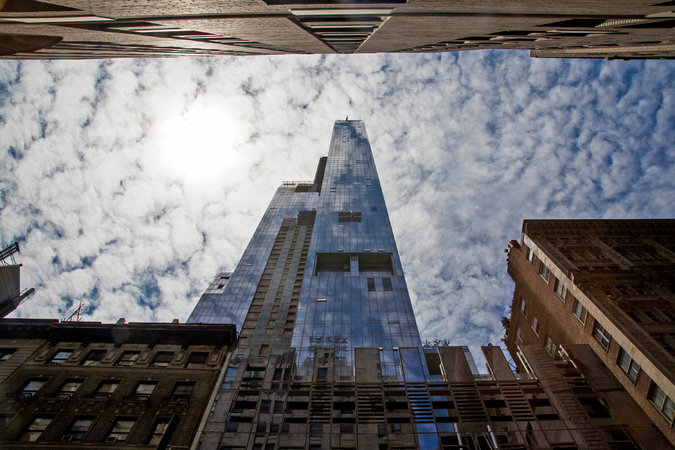 One57 was the first of a spate of luxury towers to break ground on a stretch of West 57th Street. It is also the first to see residents living there.      Credit  Elizabeth D. Herman for The New York Times