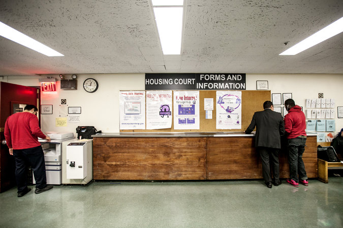 Room 225 at the New York State Courthouse in Lower Manhattan, where employees of tenant-screening companies compile information from publicly available case files for use by landlords. Credit Anthony Lanzilote for The New York Times