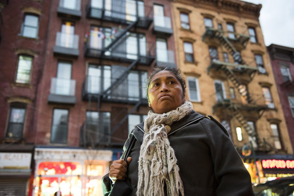 Tranquilina Alvillar lost her rent-stabilized Brooklyn apartment after the landlord began renovations, and an inspector found her home uninhabitable. Credit Edwin J. Torres for The New York Times