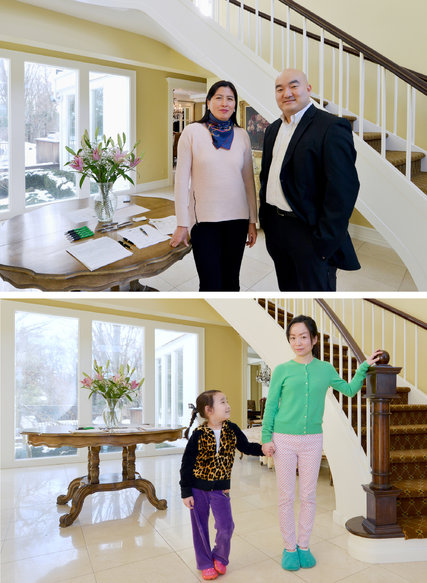 At bottom, Theresa Wang with her daughter, Tian Tian, at home in Old Westbury, N.Y. Ms. Wang has decided the house is too large, and plans to move nearby. Top, Tina Wang and Andrew Wu of Daniel Gale Sotheby's International Realty in Port Washington, N.Y., have the $3.68 million listing.   Credit Kathy Kmonicek for The New York Times