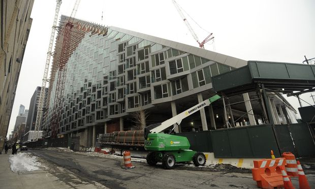 The construction of 625 West 57th Street, a 709-unit rental building, is helping 400 Chinese investors obtain US green cards.(Brad Horrigan/WNYC)