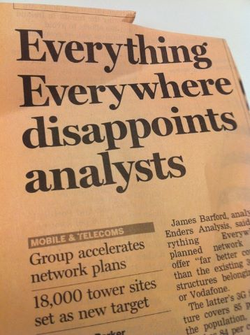 Best financial news headline ever (EE is the holding company for Orange and T-Mobile in the UK)
