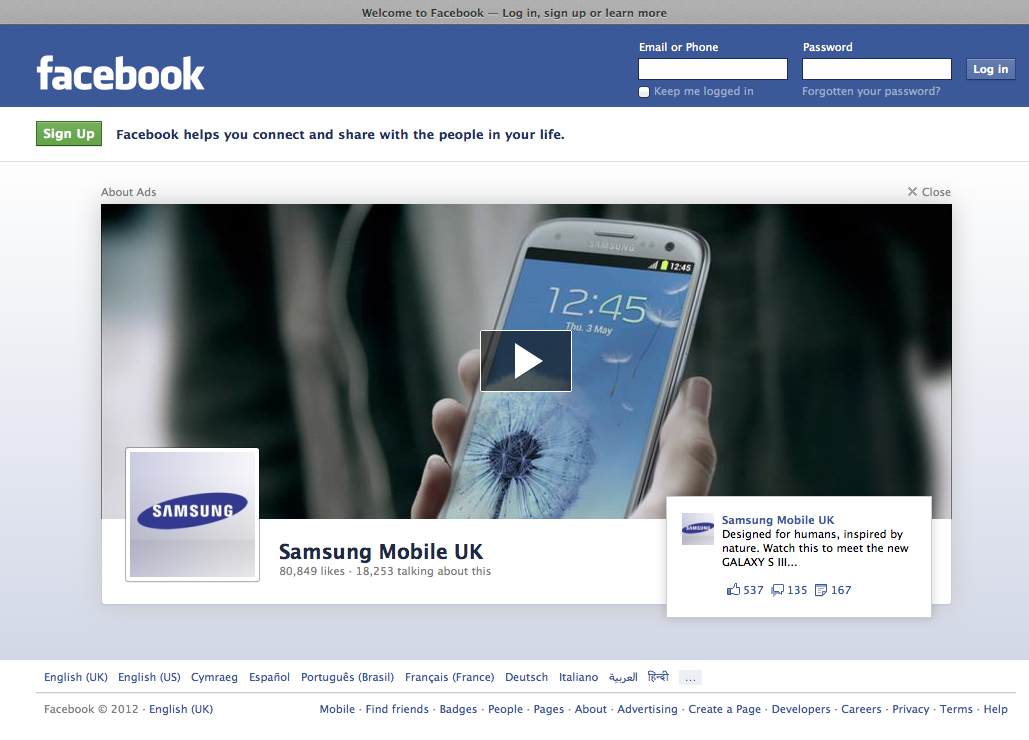 Can't accuse Samsung of not trying. I dread to think what Facebook charged for a one-off homepage take-over