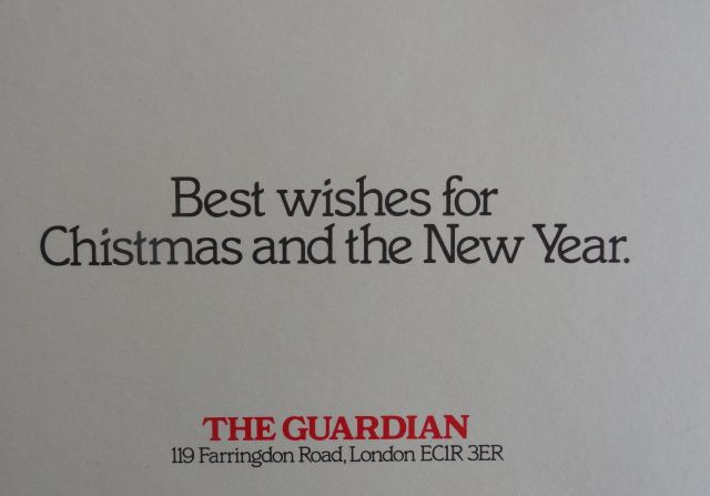 The Guardian's 1980 Christmas card, via  Alan Rusbridger