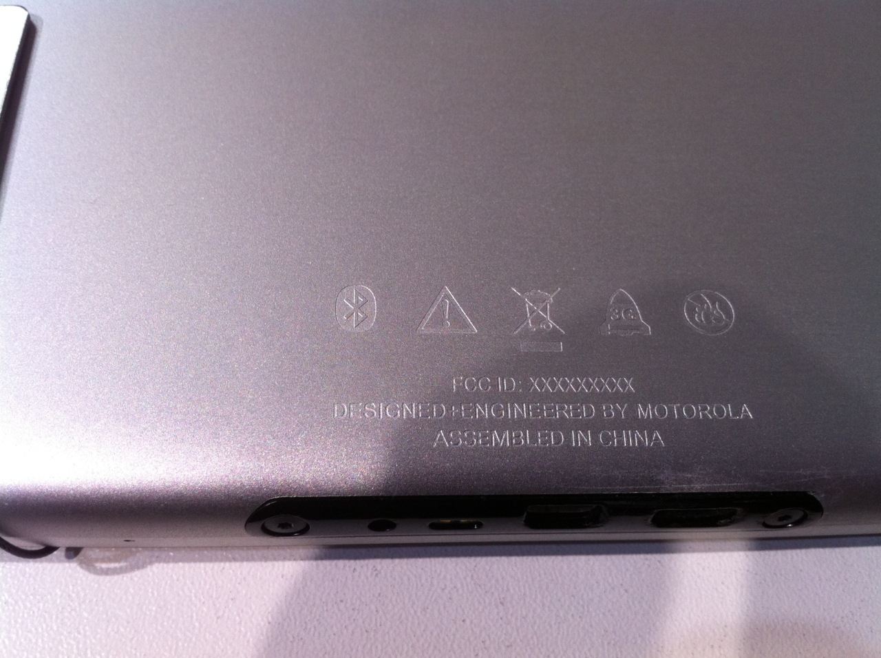 "On the back of the prerelease Motorola Xoom tablet at MWC: ""Designed + Engineered by Motorola, Assembled in China"".  Sound familiar?"