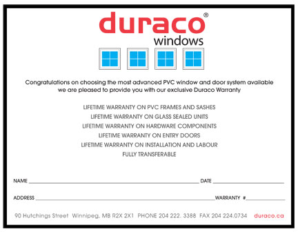 Duraco Unlimited Lifetime Warranty