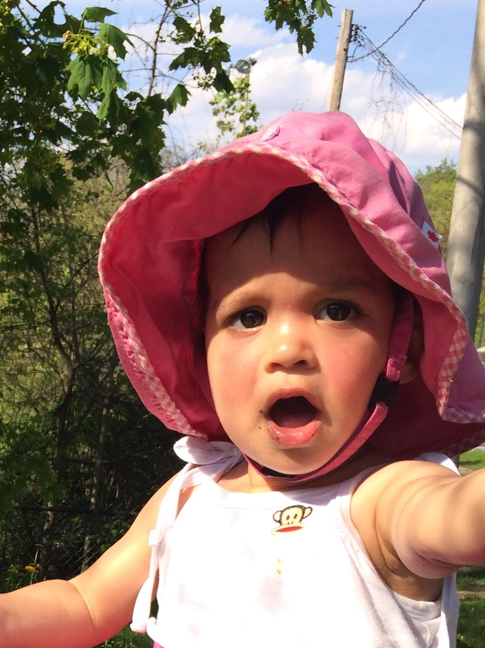"""My daughter Maya, 2,showing me her best """"ah"""" vowel. You can never start to young!"""