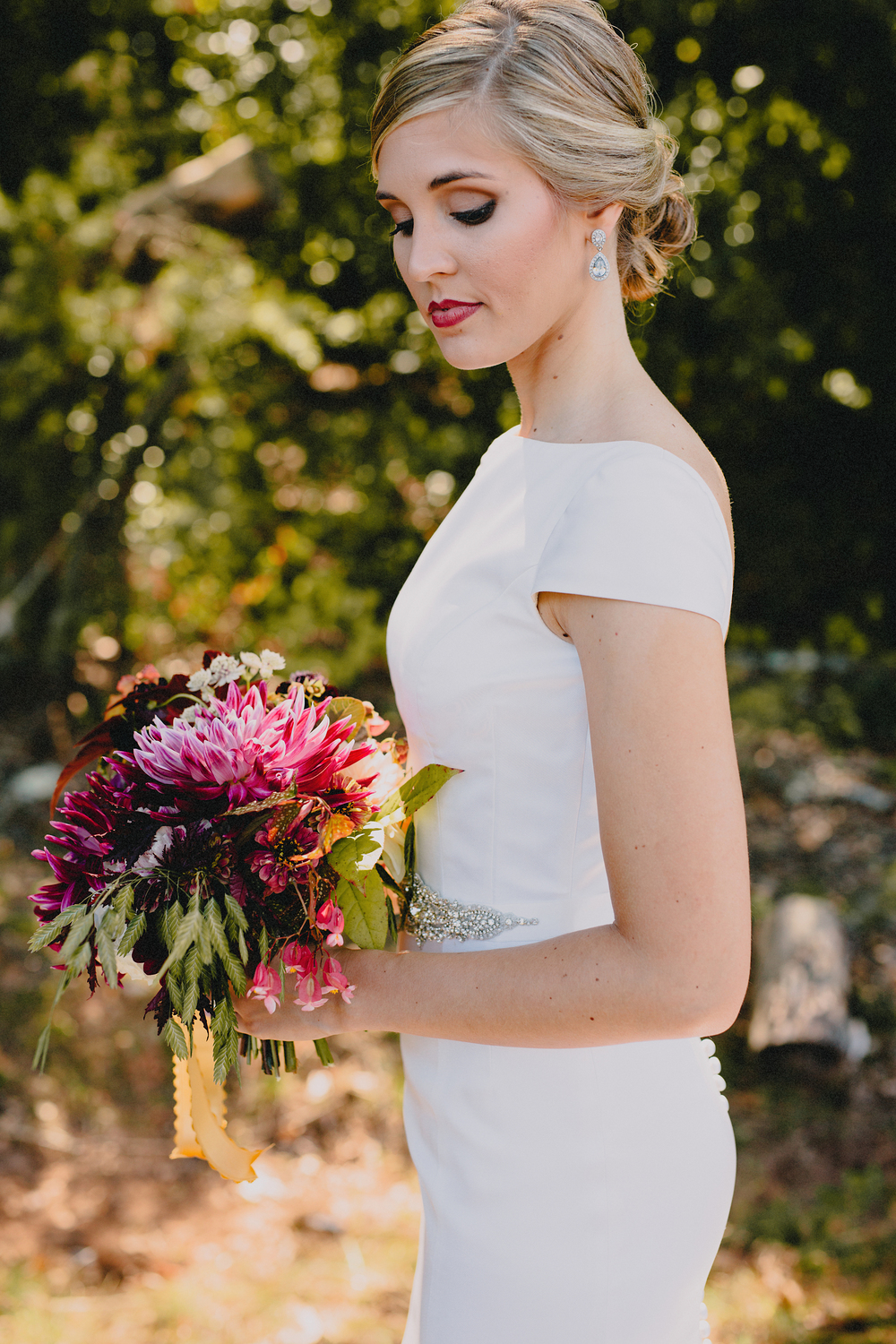 Philosophy Flowers | Kelly Perry | Blest Studios | Dahlia | Berry Bridal Bouquet | Begonias