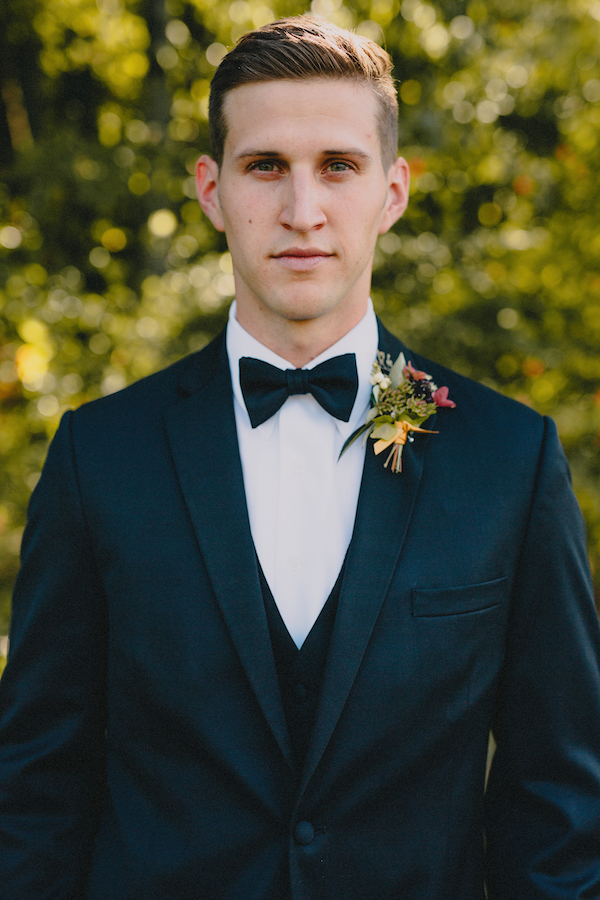 Boutonniere | Black Tux | Bowtie | Philosophy Flowers | Blest Studios | North Carolina Wedding